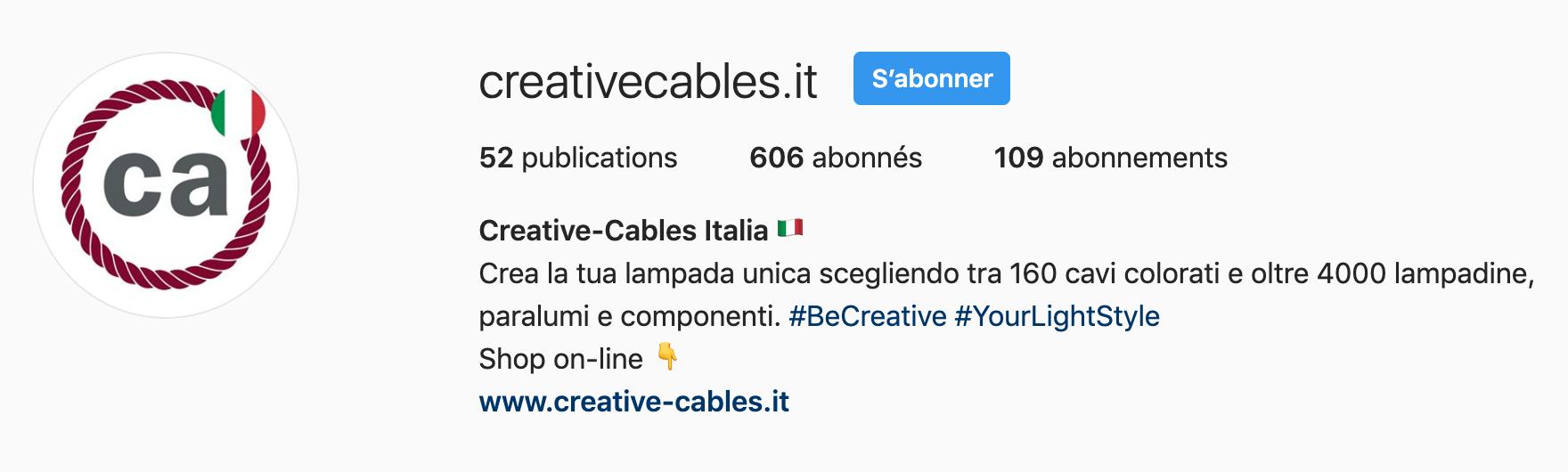 Biografia Instagram di Creative-Cables Italia
