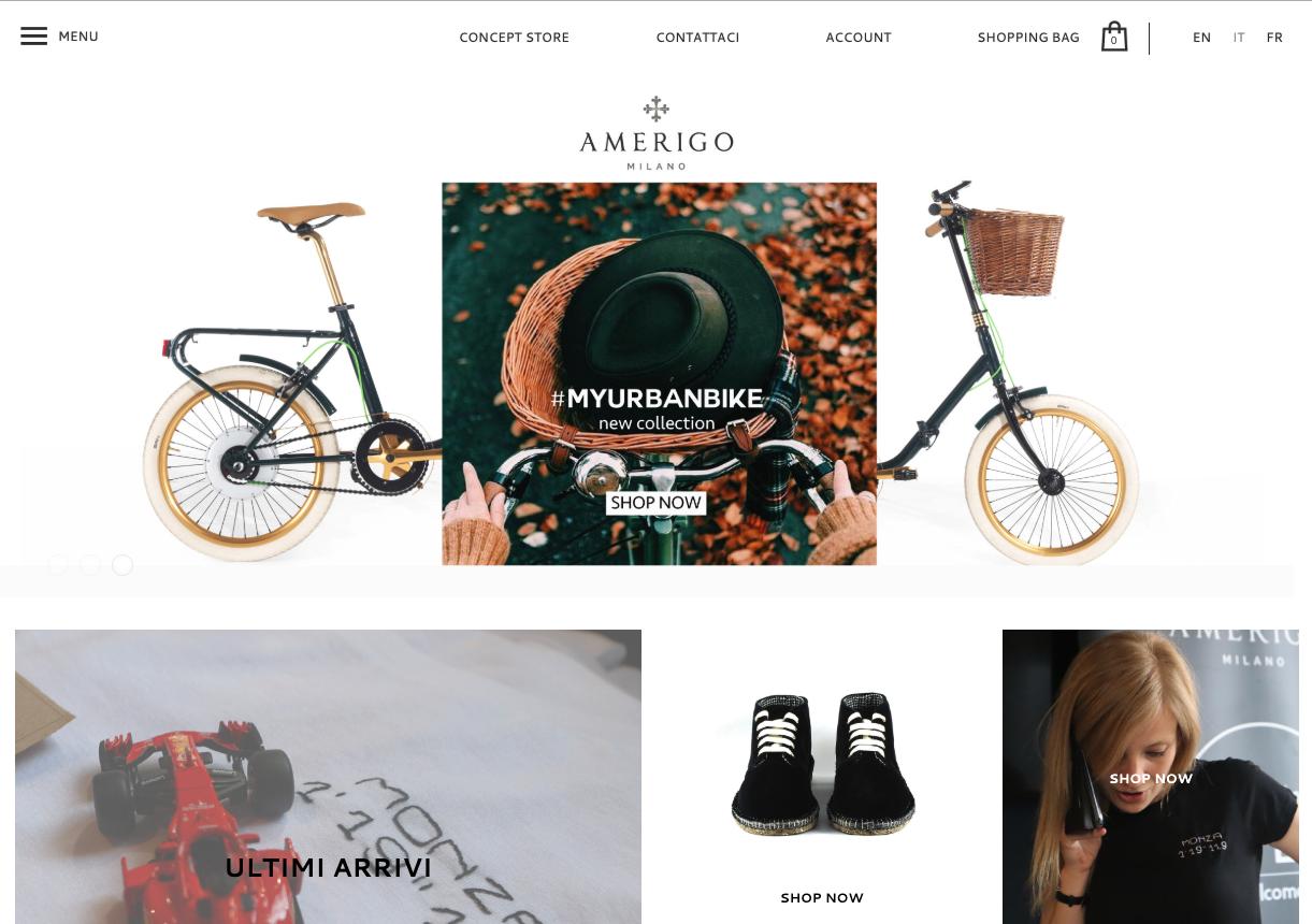 Design minimalista sul sito Amerigo Milano