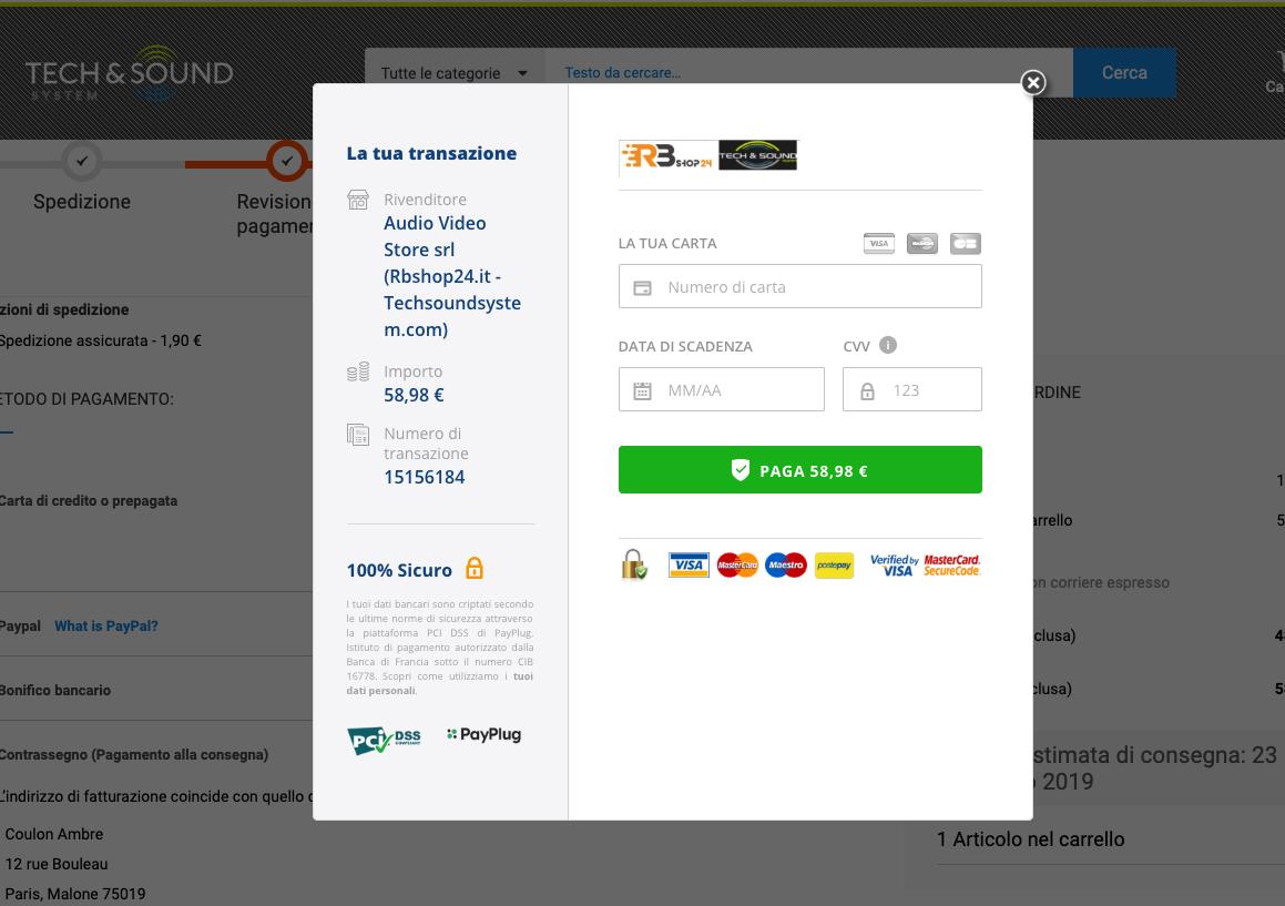 Pagina di pagamento integrata Techsoundsystem.com