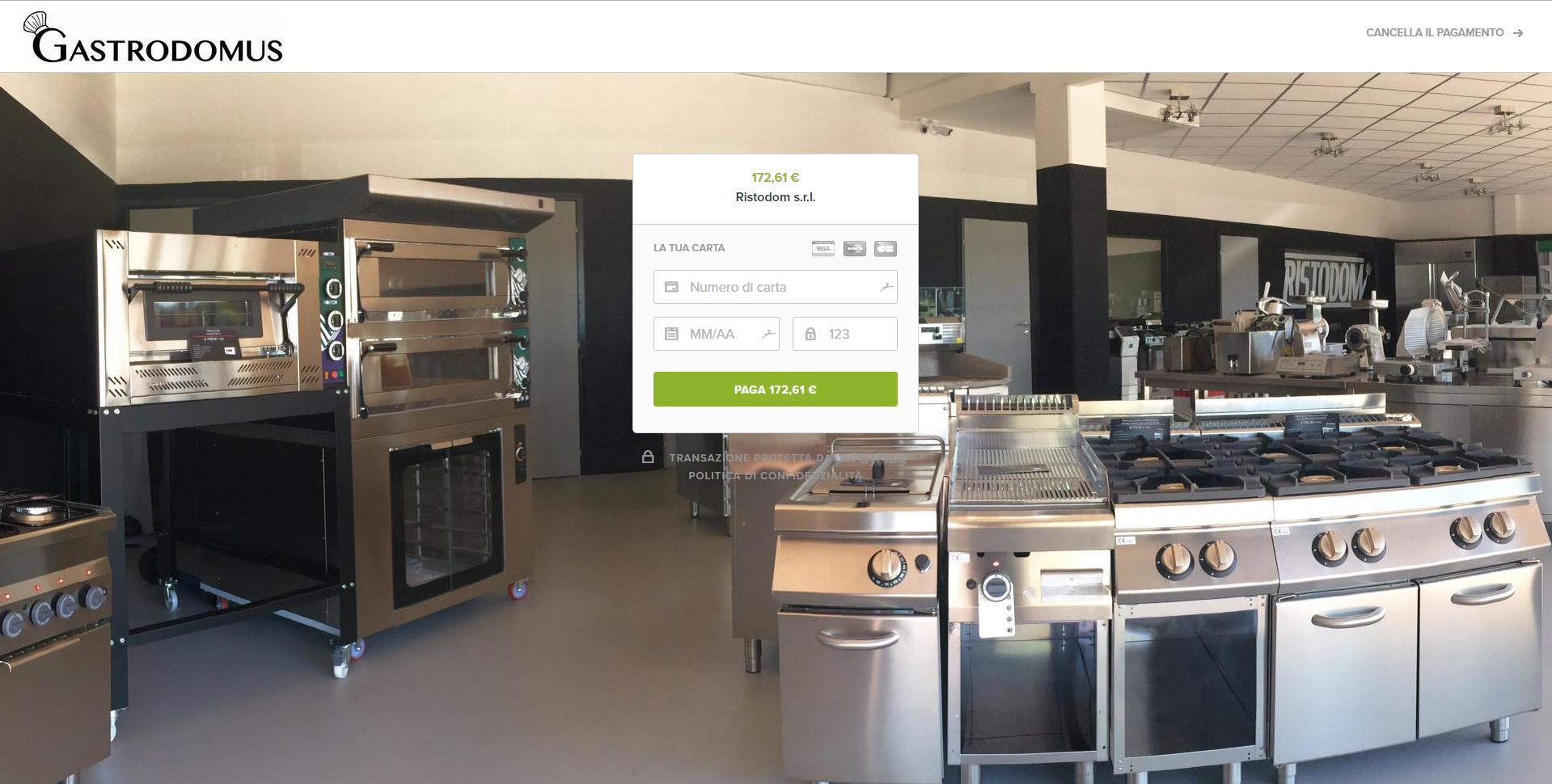 La pagina de pagamento minimalista diGastrodomus