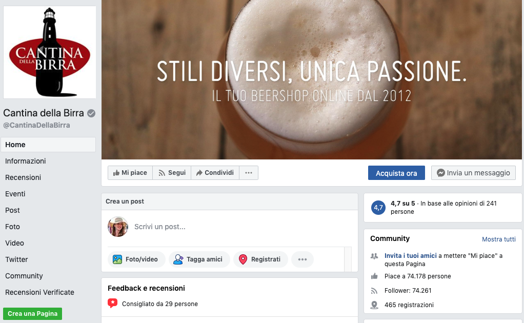 Pagina Facebook di Cantina della Birra