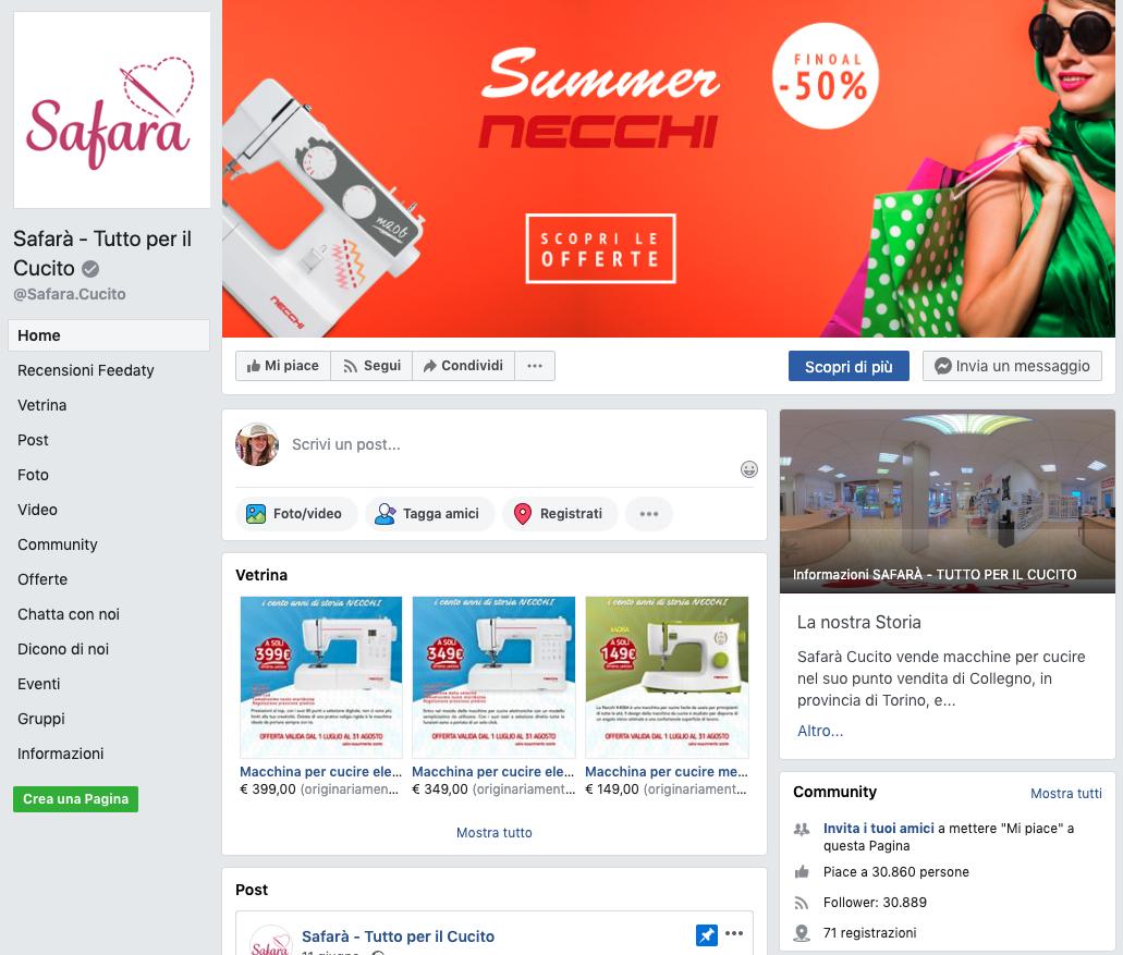 Pagina Facebook di Safarà
