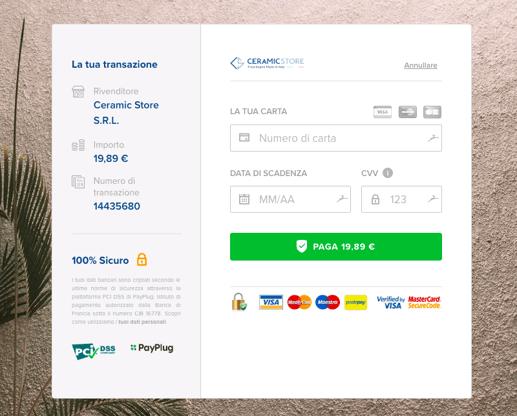 Pagina di pagamento classica