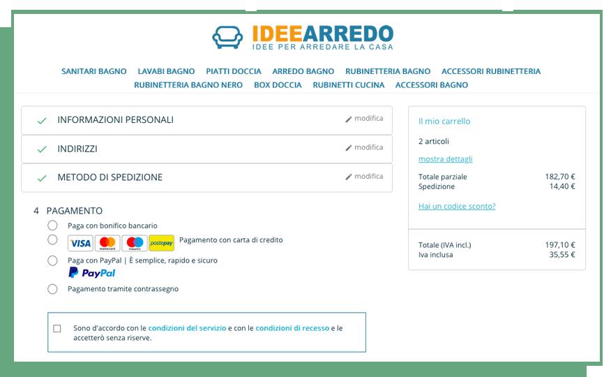 Opzioni pagamento IDEEARREDO