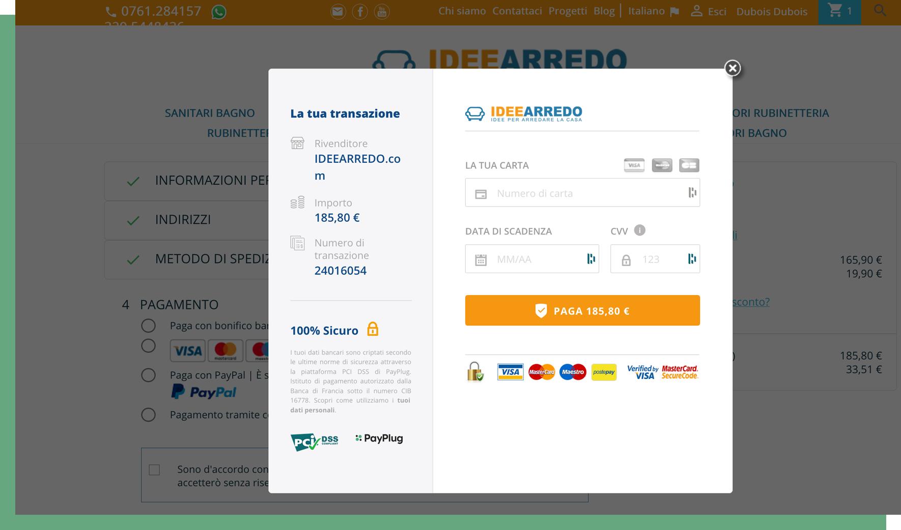 Pagina di pagamento personalizzata