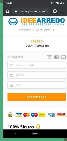 Pagina di pagamento mobile
