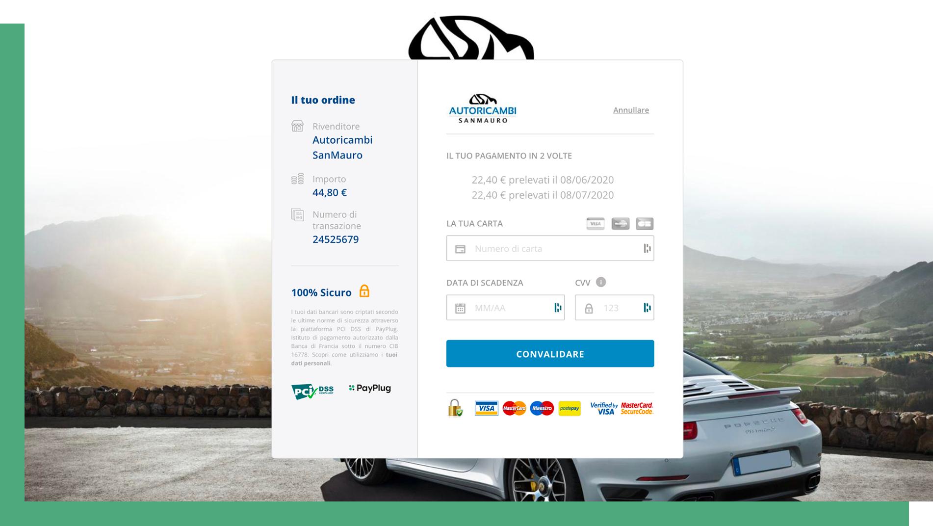 Pagina di pagamento integrata Autoricambi SanMauro