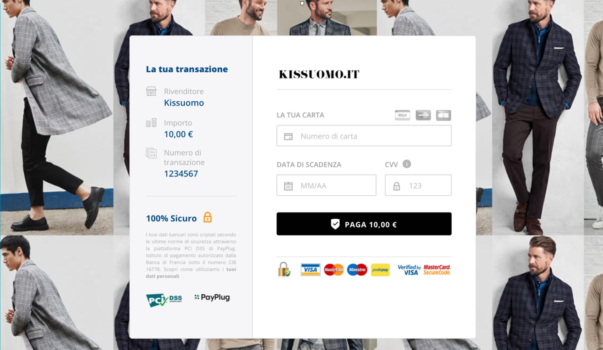 Pagina di pagamento rediretta