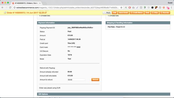 interface administration Magento et PayPlug