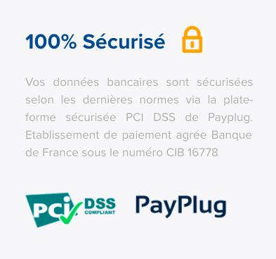 Template de page de paiement faisant apparaître la sécurité de la transaction