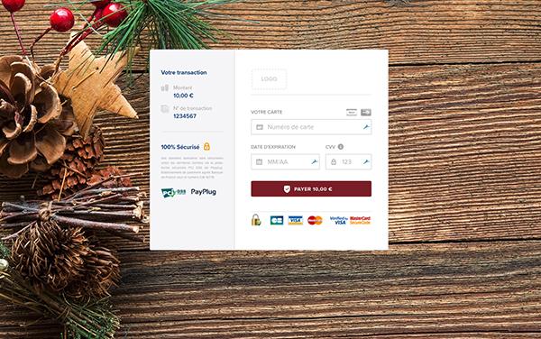 page de paiement personnalisée pour Noël