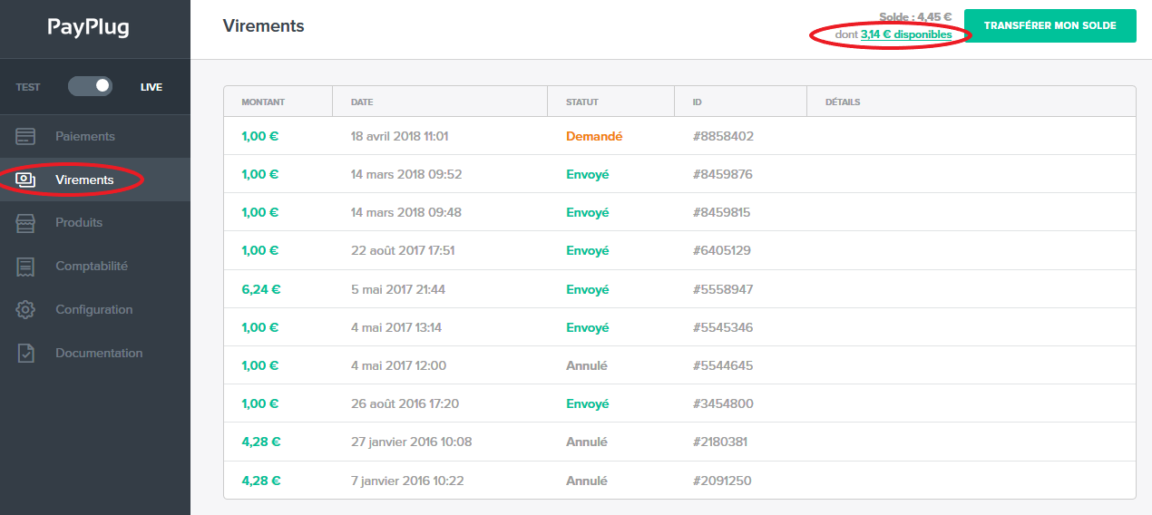 Connaître votre solde PayPlug