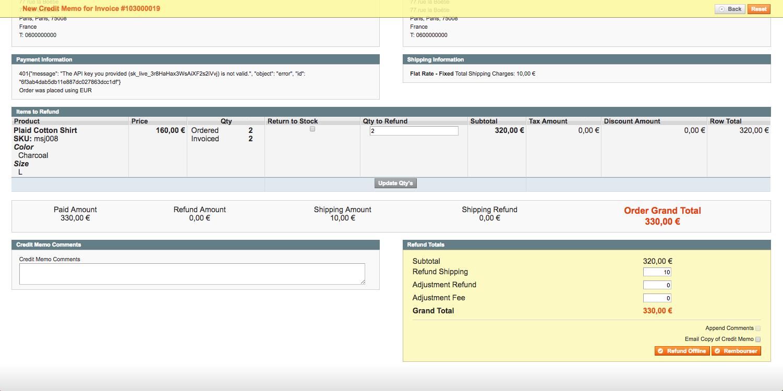 Rembourser transaction avec module de paiement en ligne sur Magento