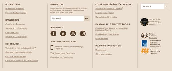 Organisation bas de page boutique en ligne
