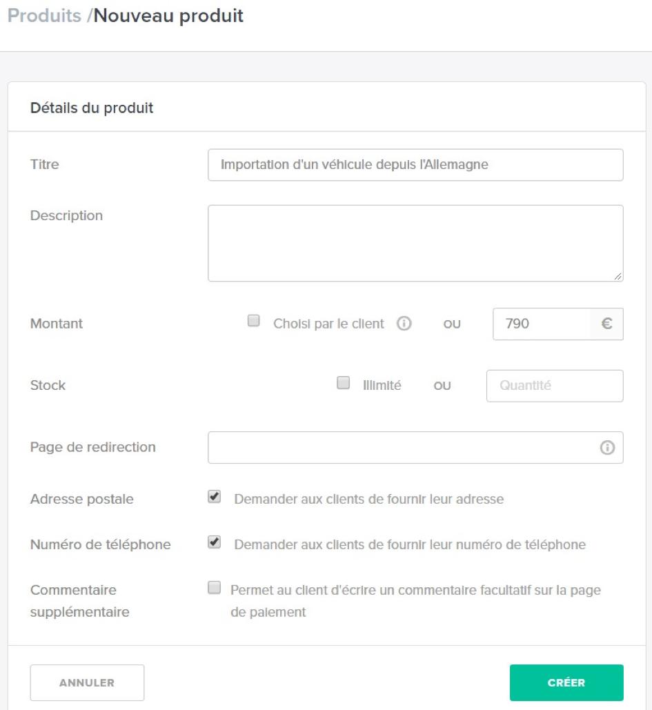 Création d'un produit sur PayPlug