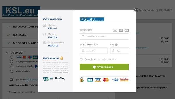Page de paiement KSL