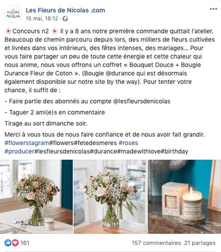 Concours Facebook Les Fleurs de Nicolas