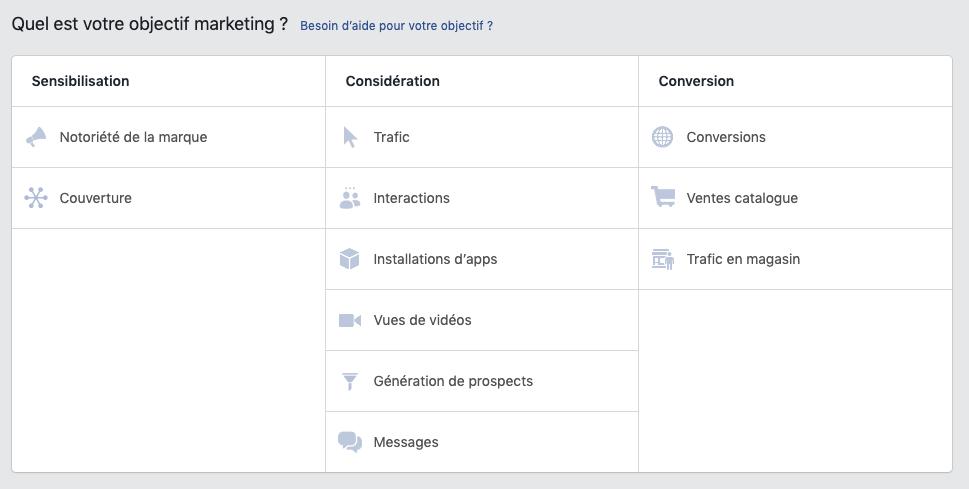 Objectif publicité Facebook
