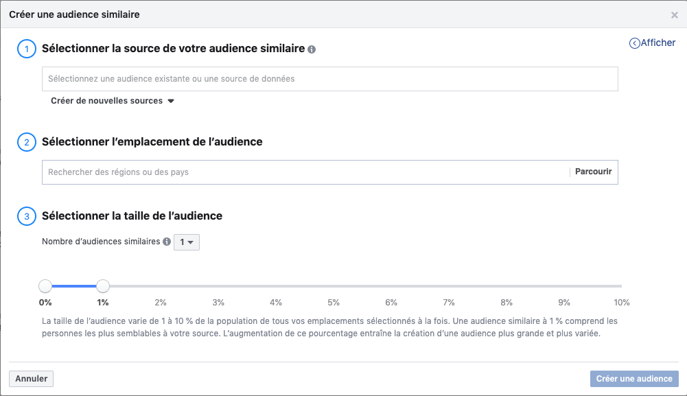 Audience Facebook similaire