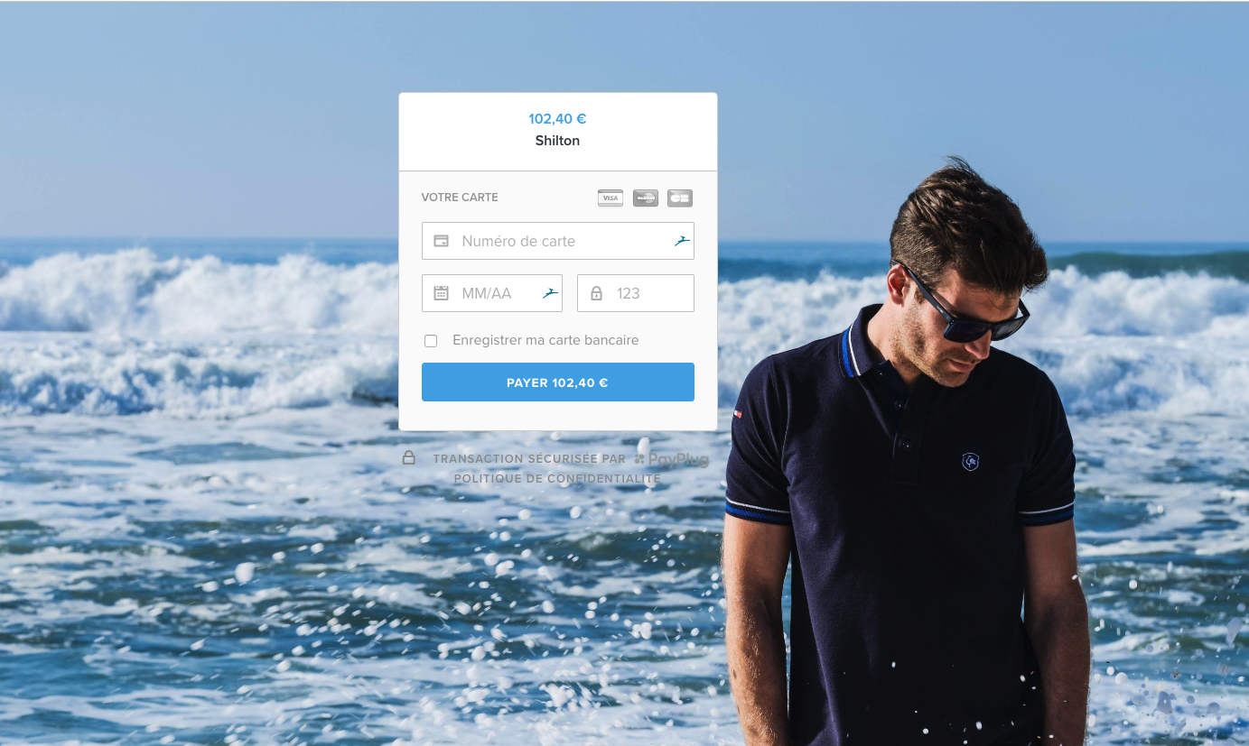 Page de paiement minimaliste - Shilton