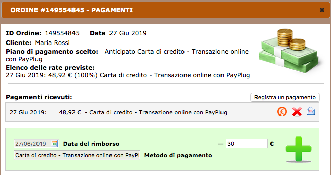 Rimborsi sul back office NewCart