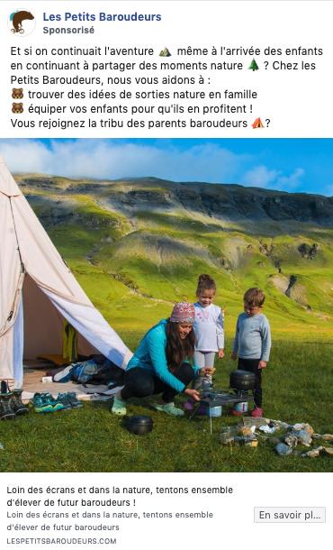 Publicité Facebook Les Petits Baroudeurs