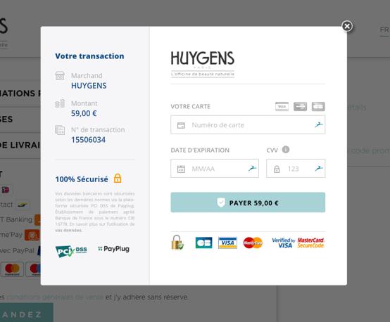 Page de paiement classique Huygens