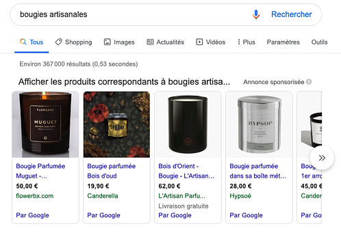 Encart Google Shopping