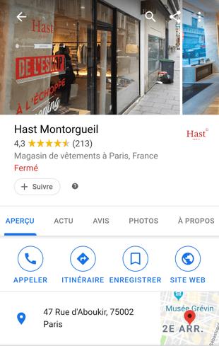 Profil Google My Business Hast Montorgueil