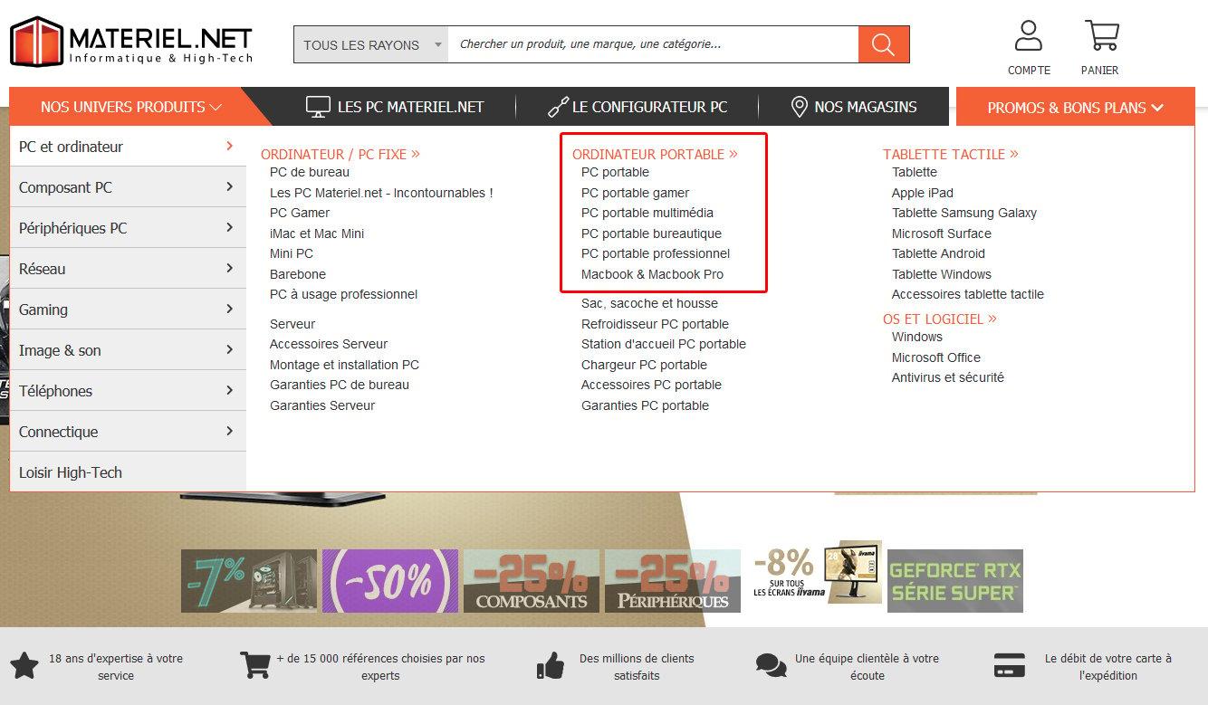 Menu du site materiel.net