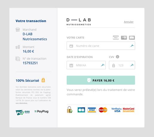 Page de paiement classique