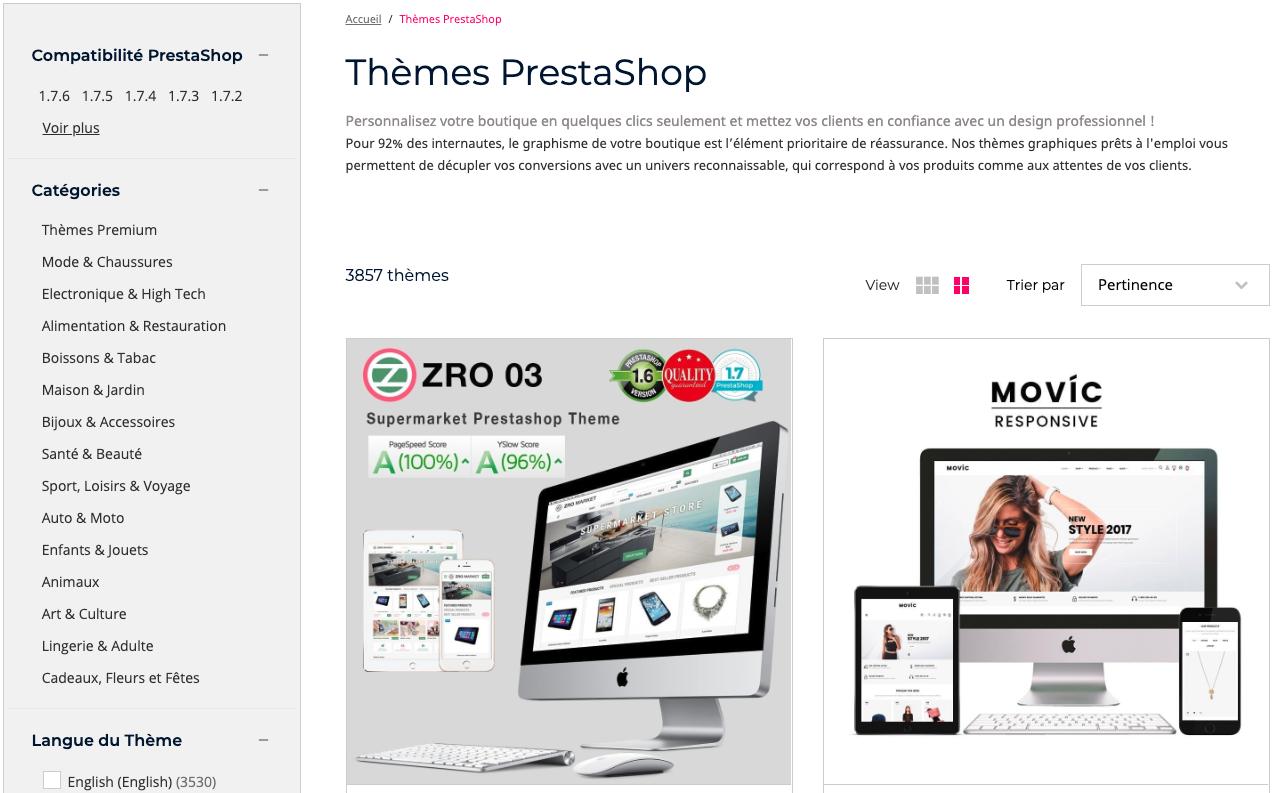 Thèmes PrestaShop