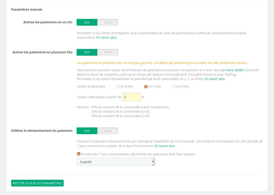 Configuration paiement différé PrestaShop