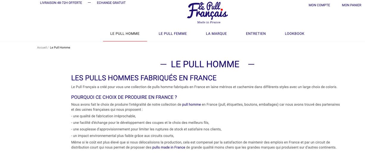 Produits Le pull français