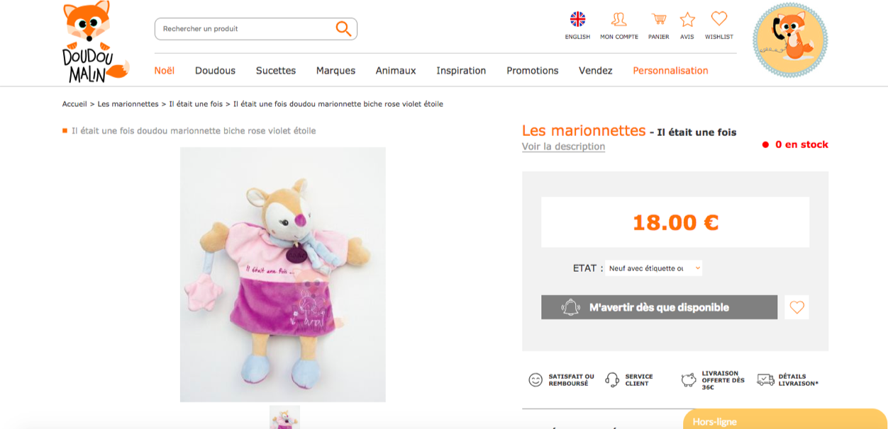 Doudou Malin cross-selling exemple