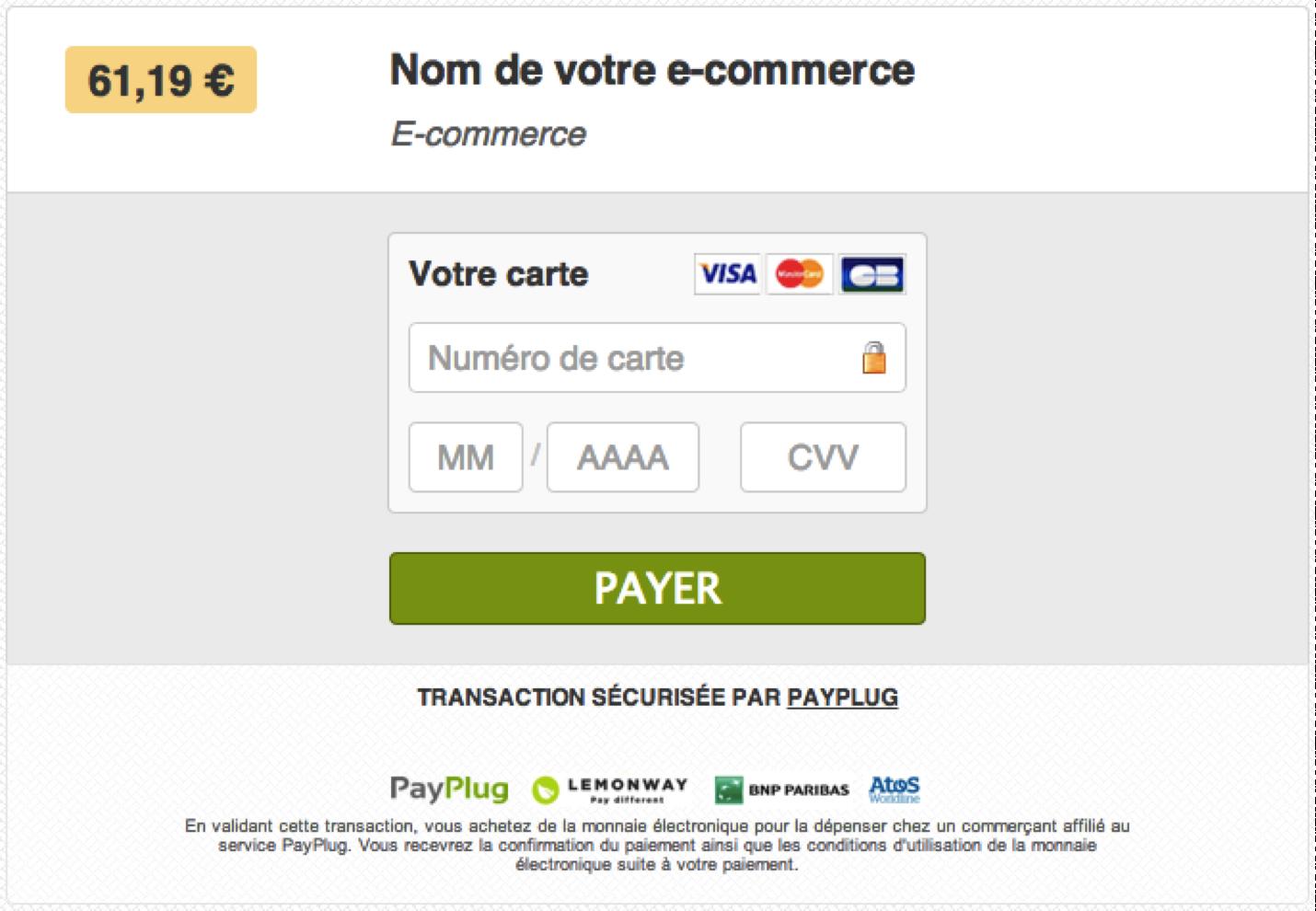 Aspect de votre page de paiement (avant personnalisation !)