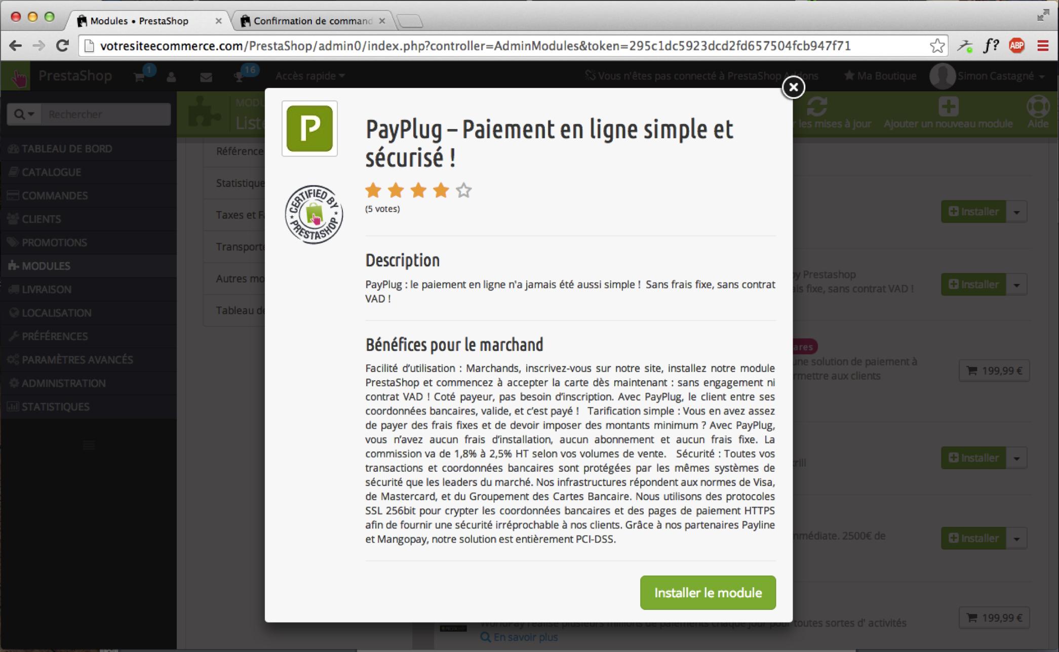 PayPlug et Prestashop